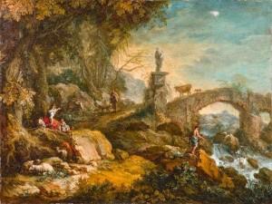 Francesco Zuccarelli (Pitigliano, 1702-Firenze, 1788) Paesaggio con ponte, figure e statua